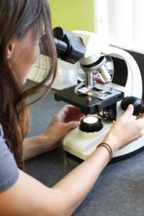 Ella at the microscope
