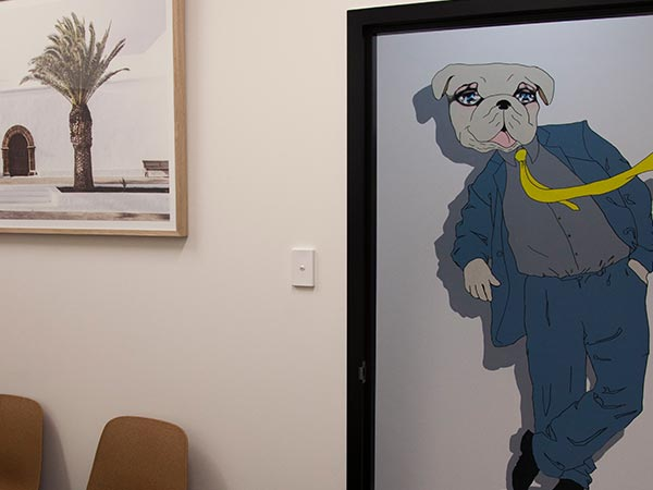 Gymea consultation room and hallway mural character